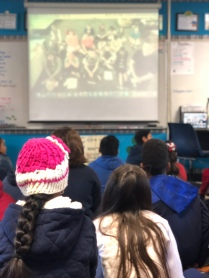 Students in Ms. Aderholt's class video chat with an out of state school